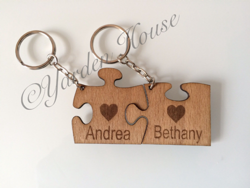 Joined Jigsaw Piece Keyrings, 3mm Ply, laser cut and engraved with the names of your choice